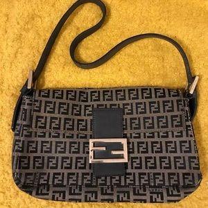 FENDI black and grey zucca baguette handbag